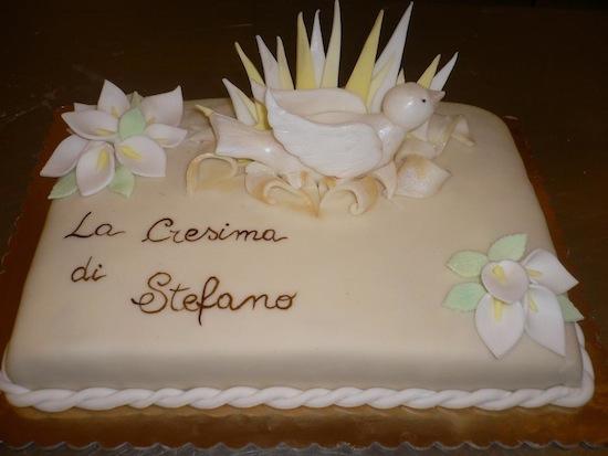 torta per la cresima bianca