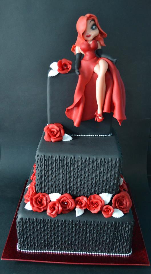 Torta con jessica rabbit cakemania dolci e cake design for Pasta di zucchero decorazioni