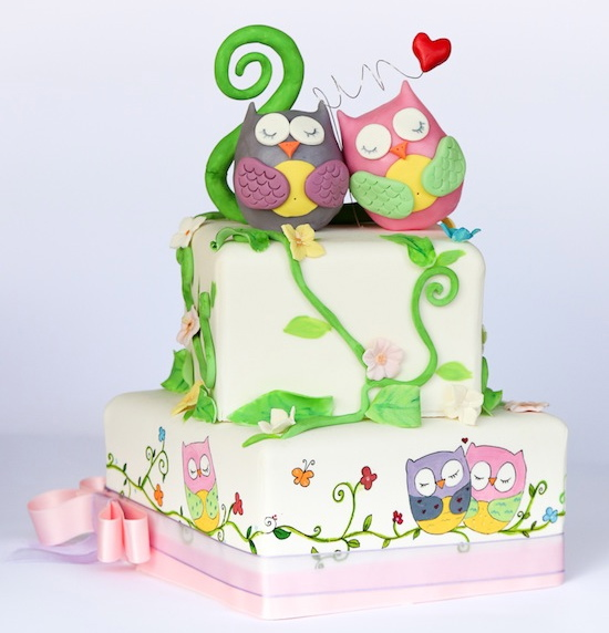 Torta gufetti innamorati di lallabycakes cakemania for Design a due piani