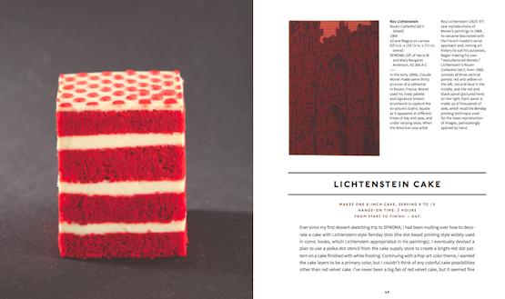 La torta dedicata a Roy Lichenstein (Image courtesy of Ten Speed Press, © 2013 Clay McLachlan) è una red velvet con crema al burro e vaniglia e gelatina