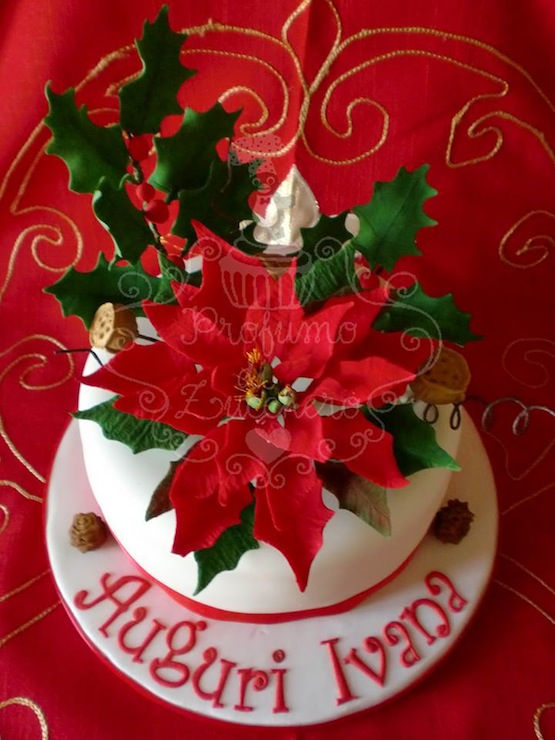Stella Di Natale Pasta Di Zucchero Tutorial.Torte Con Agrifoglio Vischio Pungitopo E Stelle Di Natale