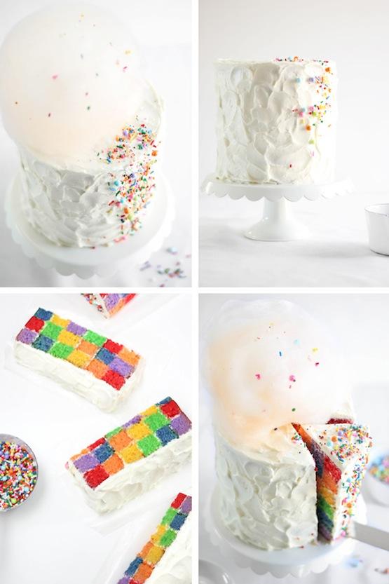 Rainbow Checkerboard Cake Recipe