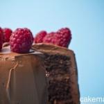 Torta al cioccolato, ganache fondente e lamponi