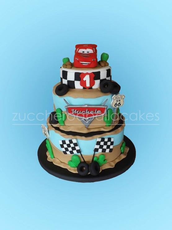 cars cake in fondant