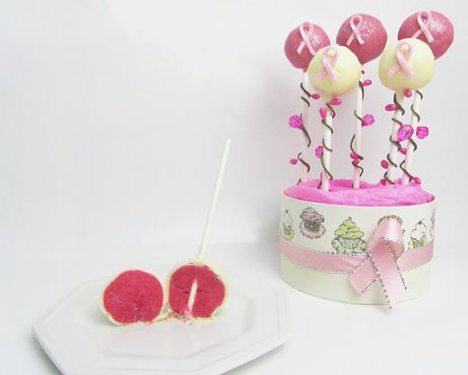 cake pop pink velvet per nastro rosa
