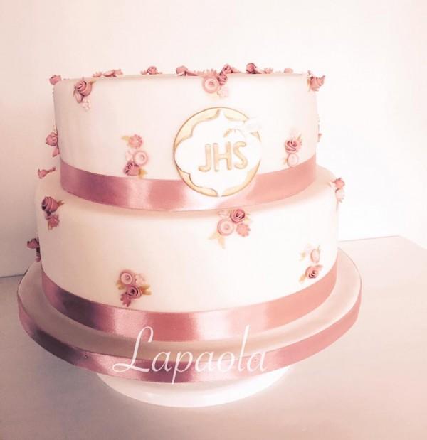 torta rosa cresima