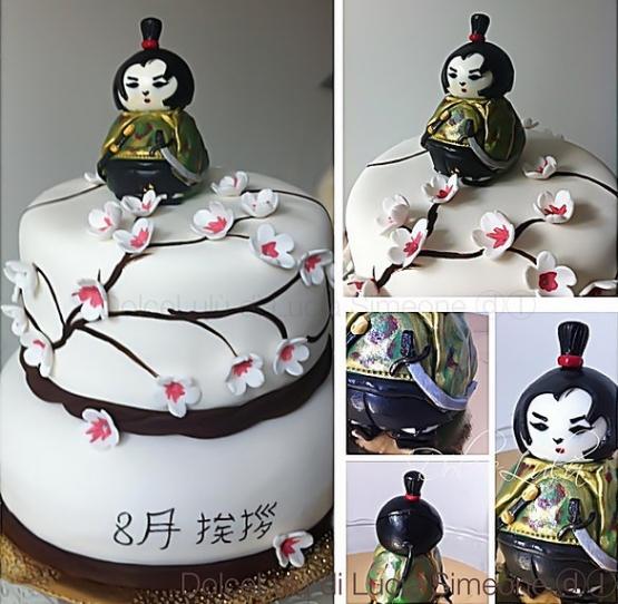 torta decorata a tema giapponese con pasta di zucchero cake design
