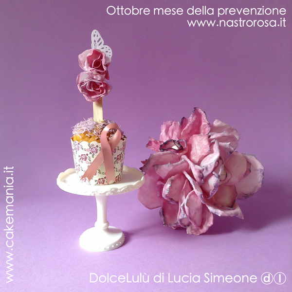 nastrorosa, cupcake, tumore al seno,wafer paper