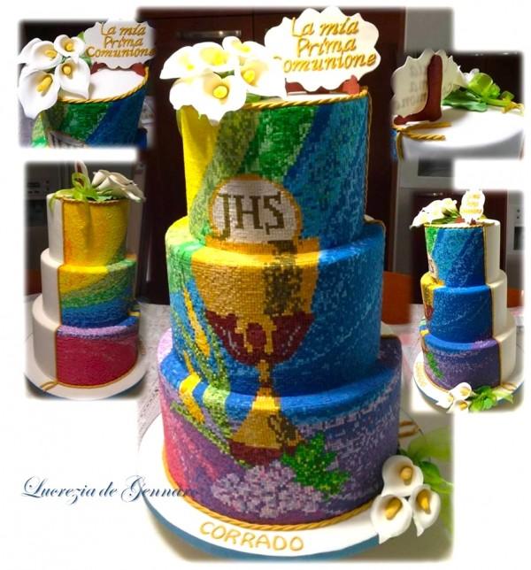 torta prima comunione decorata mosaic cake