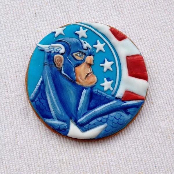 biscotto decorato capitan america cookie