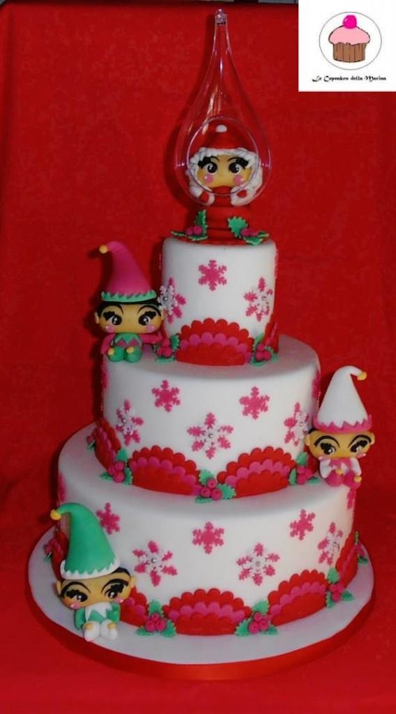 Torte di di natale con elfi in pasta di zucchero - Torte natalizie decorate ...