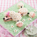 torta decorata con marshmallows cane