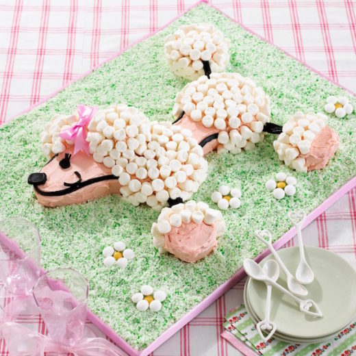 torta decorata con marshmallows cane