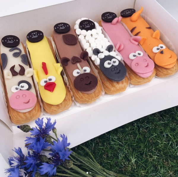 decorated eclairs