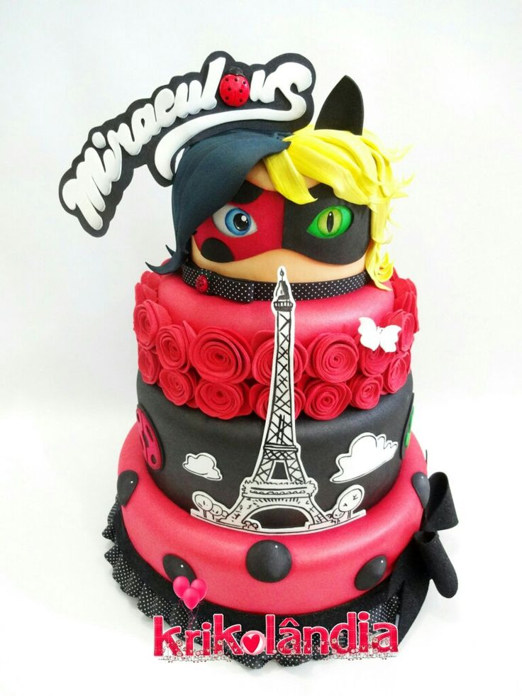 Torte decorate miraculous le storie di ladybug e chat noir
