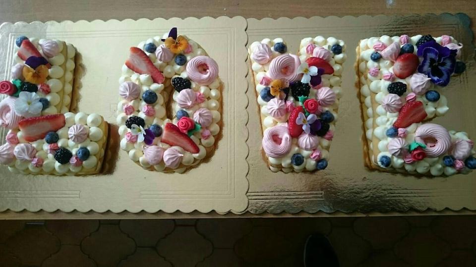 letter cake cream tart