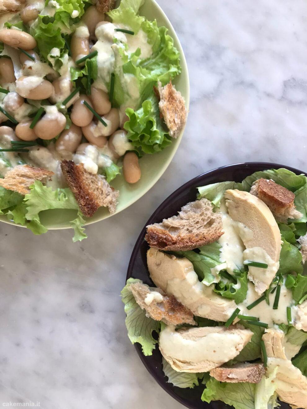Caesar salad originale e vegetariana