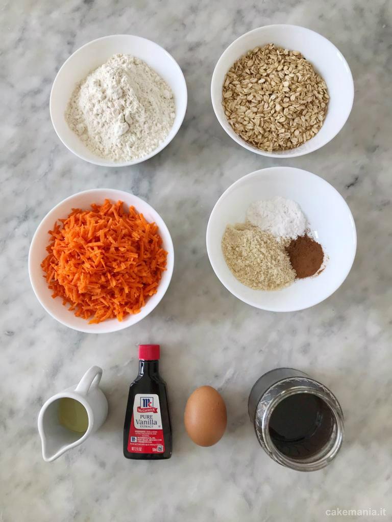 ingredienti biscotti carote e avena