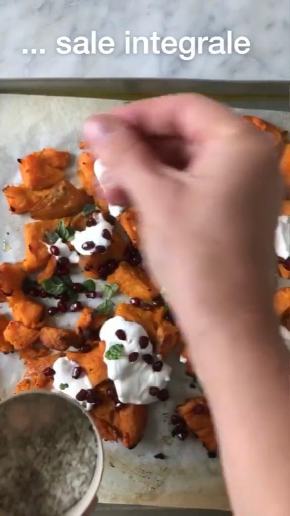 patate-dolci schiacciate al forno con sale integrale